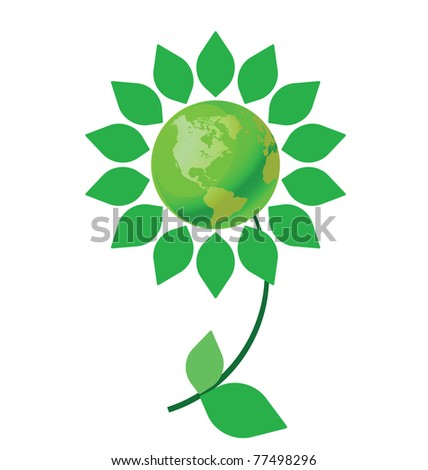 Environmental climate change flower with green earth - stock photo