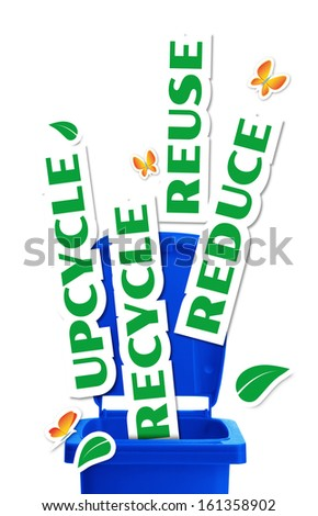 Environmental concept, bin with paper stickers words Reduce, Reuse, Upcycle, Recycle - stock photo