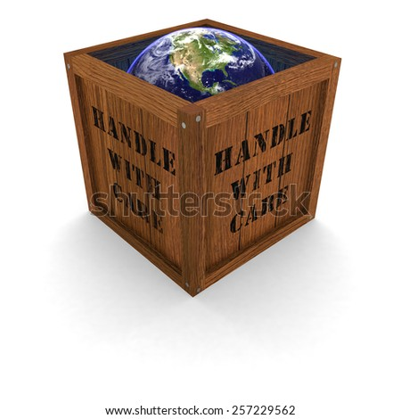 Environmental Concept - Earth in a Box - Handle with care - stock photo