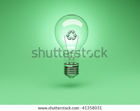 Environmental Concept - light bulb on green background