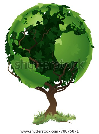 Environmental concept. Tree forming the world globe in its branches and leaves - stock photo