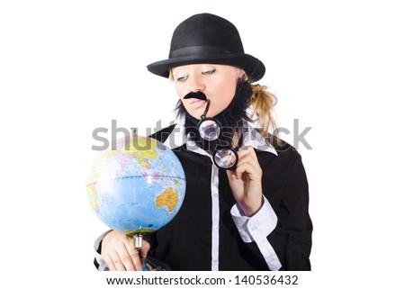 Environmental conservationist holding planet earth with look of concern on white background