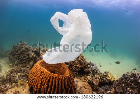 Environmental Pollution - A discarded white plastic bags drifts over a tropical coral reef - stock photo