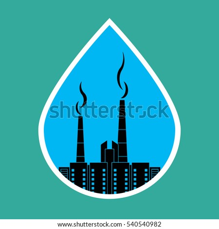 Environmental pollution, ecology concept. Tube with smoke over the city in a drop of water. Bitmap copy.