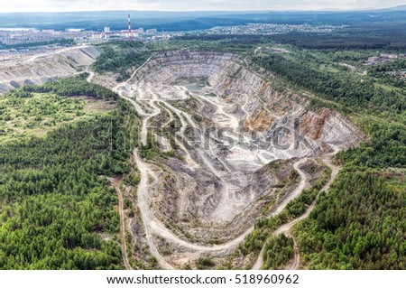 Environmental pollution problems. Open pit mining of copper ore