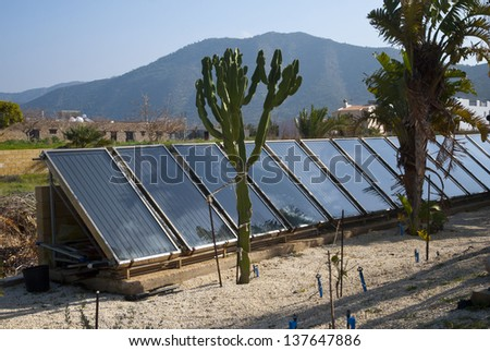 Environmental project for home solar power energy battery plant ,Cyprus - stock photo