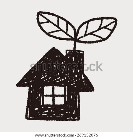 Environmental protection concept; greenhouses; green house; doodle - stock photo