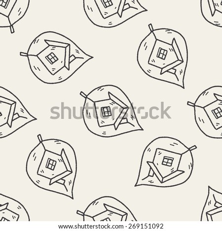 Environmental protection concept; greenhouses; green house; doodle seamless pattern background - stock photo