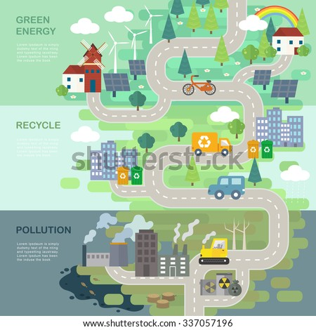 environmental protection concept in 3d isometric flat design  - stock photo