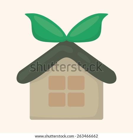 Environmental protection concept theme elements; greenhouses; green house - stock photo
