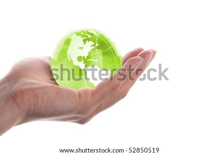 environmental protection or business concept with glass globe in hand isolated on white - stock photo