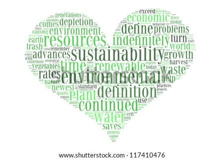 Environmental sustainability in love shape collage - stock photo