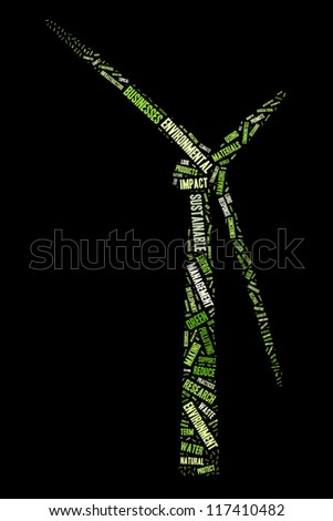 Environmental sustainability in windmill shape collage - stock photo