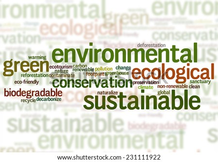 Environmental sustainable ecological related word collage - stock photo