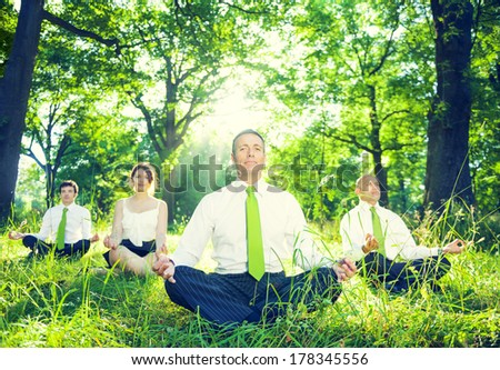 Environmentalist Business People Meditating in Nature - stock photo
