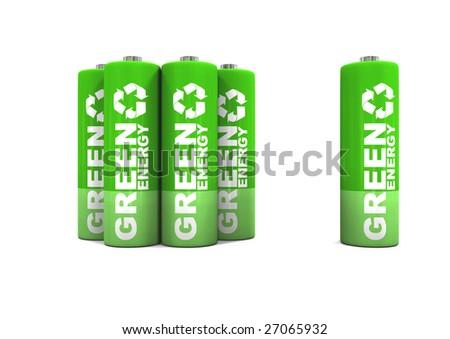 Environmentally friendly green energy double a batteries. - stock photo