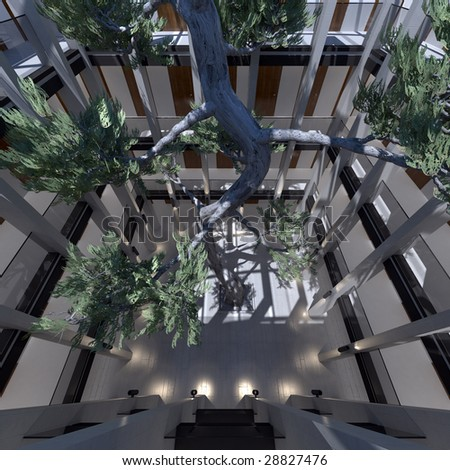 environmentally friendly office. Environmentally Friendly Office With Fir Tree (3D Render) N