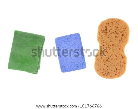 Environmentally safe cleaning products isolated against a white background