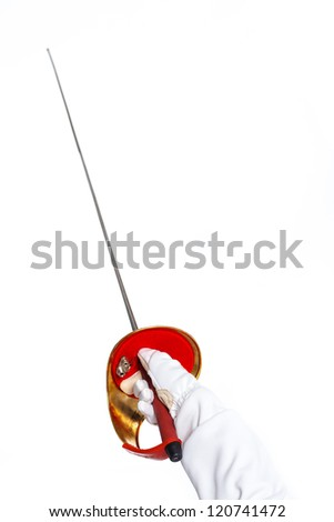 Epee in the child hand. Isolated on white background. - stock photo
