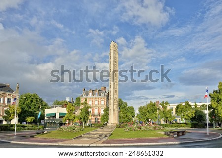 EPERNAY, FRANCE-JULY 13, 2014: Memorial of victims of Second World War in historical center of Epernay - stock photo