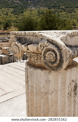 EPHESUS, TURKEY - MAY 26 2014:A statue on Kuretes Street in Celsus on July 2, 2009 in Ephesus, Turkey. Ancient Ephesus contains the largest collection of Roman ruins in eastern Mediterranean, - stock photo