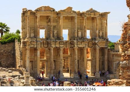EPHESUS TURKEY MAY 26 2014: Library of Celsus  in Ephesus, Turkey. Ancient Ephesus contains the largest collection of Roman ruins in the eastern Mediterranean. Once the most powerful city in the world - stock photo