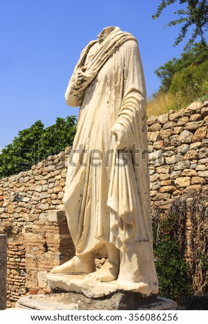 EPHESUS, TURKEY - MAY 26 2014 : Tourists will see in Ephesus the ancient largest collection of Roman ruins in the eastern Mediterranean what once the most powerful city in the world. - stock photo