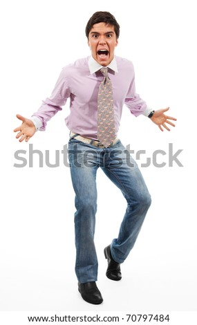 Epic fail - angry manager stand with wide parted hands in aggressive pose - stock photo
