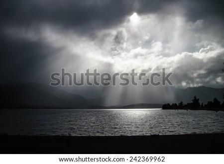 Epic Lighting Over Lake Te Anau on a Stormy Day, Fiordland, New Zealand - stock photo