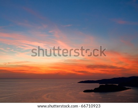 Epic sunset over sea. View from above - stock photo