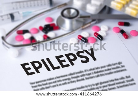 EPILEPSY and Background of Medicaments Composition, Stethoscope, mix therapy drugs doctor and selectfocus - stock photo