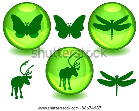EPS 10: Butterfly, dragonfly and caribou or reindeer silhouettes on their own or in glossy green sphere with drop shadow, perfect symbols for ecology or biodiversity protection - stock photo