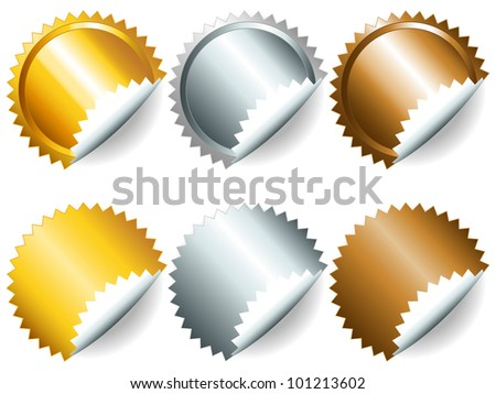 EPS 10: Gold, silver and bronze games related set of rosette medal or label with related numbers in metallic colors - stock photo