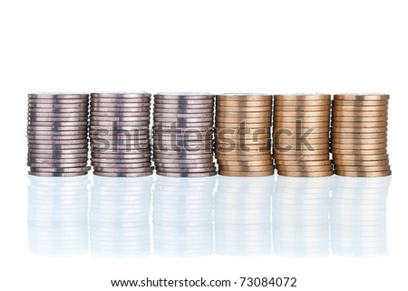 Eqaul, silver and gold stacks, on white - stock photo