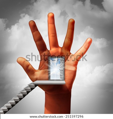 Equal opportunity and work equality business concept as an open door on a human hand with fingers representing diverse multicultural people as a metaphor for fighting discrimination in the workplace. - stock photo