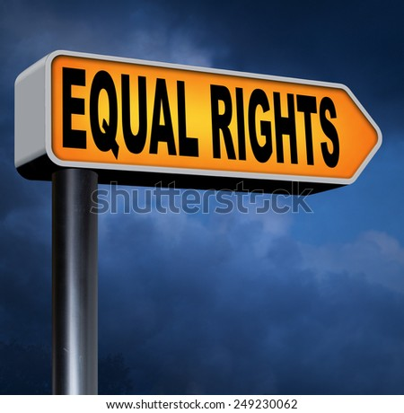 equal rights no discrimination and same opportunities for all women man disabled black and white solidarity discrimination of people with disability or physical and mental handicap road sign arrow  - stock photo