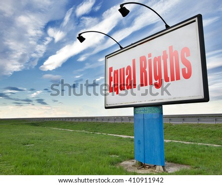 Equal rights no discrimination and same opportunities for all women man disabled black and white solidarity discrimination of people disability or physical and mental handicap, road sign billboard.   - stock photo