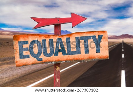 Equality sign with road background - stock photo