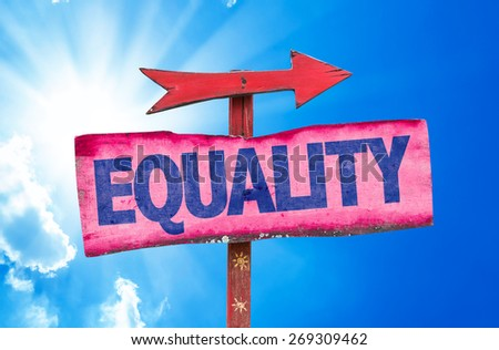 Equality sign with sky background - stock photo