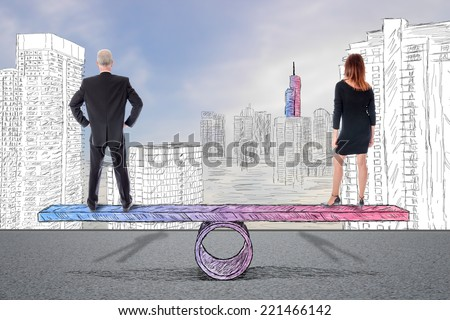 Equality woman man concept - stock photo