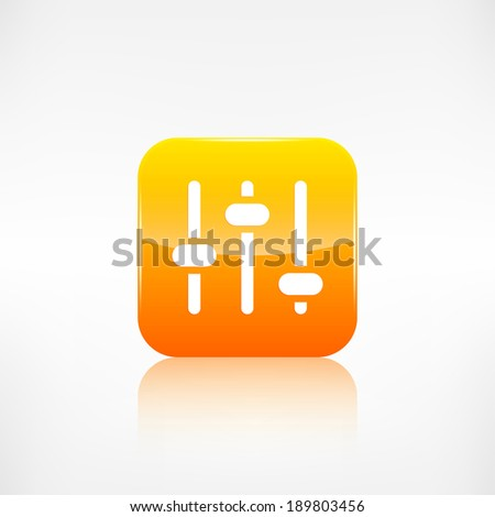 Equalizer icon. Music sound wave symbol. Application button. - stock photo