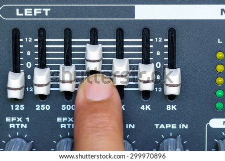 EQUALIZER on the Control of sound mixer amplifier. - stock photo