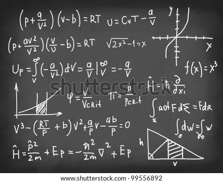 Equations and formulas written in chalk on blackboard. Concept of education and science. - stock photo