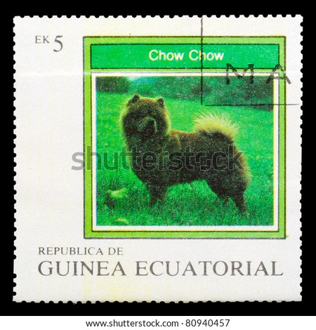 EQUATORIAL GUINEA - CIRCA 1977: A stamp printed by EQUATORIAL GUINEA shows a dog Chow Chow, series, circa 1977 - stock photo