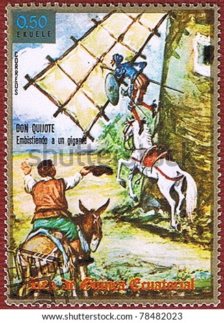 EQUATORIAL GUINEA - CIRCA 1975: A stamp printed in Equatorial Guinea shows Don Quixote, series, circa 1975