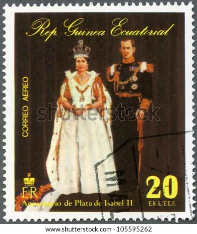 EQUATORIAL GUINEA - CIRCA 1978: A stamp printed in Equatorial Guinea shows Elizabeth II, Coronation, 25th  Anniversary, circa 1978 - stock photo