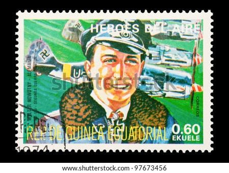 EQUATORIAL GUINEA - CIRCA 1974: Mail stamp printed in Equatorial Guinea featuring WW2 military fighter ace Walter Nowotny, circa 1974 - stock photo