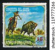 EQUATORIAL GUINEA - CIRCA 1976: stamp printed by Equatorial Guinea, shows Inidian and Cowboy, circa 1976 - stock photo