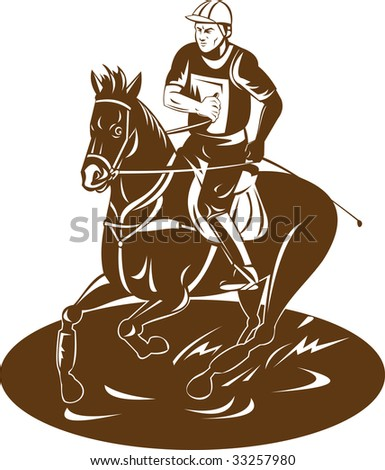 Equestrian and his horse - stock photo