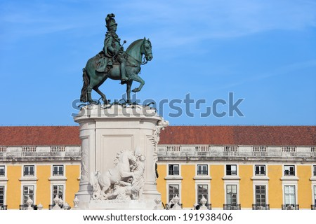 Equestrian bronze statue of King Jose I from 1775 on the Commerce Square in Lisbon, Portugal.